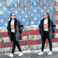 Romina Ch - Zara Sweater, 3.1 Phillip Lim Bag, Converse Flatforms - Raise The Flag