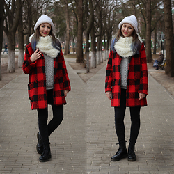 Valeria Chizhova - Dr. Martens Dr, Sheinside Coat, Pull & Bear Fluffy Scarf, Pull & Bear Sweater, Bershka Perfect Black Skinny Jeans, Handmade Diy Knitted Hat - Cool name should be here, but I didn't come up with it