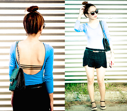 Germeline Nabua - Wagw Low Back Top, Scallop Shorts, Aldo Cateye Sunnies, People Are Ballerina Flats - Blue and Black or White and Gold?