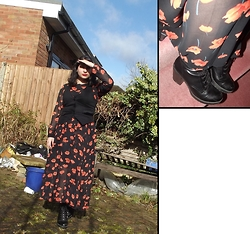 Selina M - Yesstyle.Co.Uk Sheer Maxi Dress, New Look Platforms, Swapped Black Waistcoat - 70s Amish