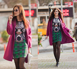 Viktoriya Sener - Romwe Purple Coat, Romwe Printed Dress, Zara Clutch, Asos Brogues, Freyrs Sunglasses - PURPLE TODAY