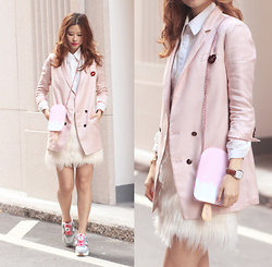 Mayo Wo - Initial Pink Blazer, Chic Wish Lace Shirt, Fabcessories Kiss Brooch, 202 Factory Ice Cream Bar Bag, Frontrowshop Faux Fur Skirt, Puma Disc - Pink is the cure