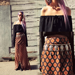 Sera Brand - Jolly Chic Off The Shoulder Top, For Love & Lemons Slit Skirt - You are my Candle giving me Light