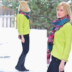Tatiana M - Forever 21 Sweater, Forever 21 Scarf, Zara Jeans, Ecco Boots - Neon Vibes