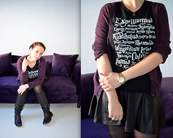 Sarah M - H&M Cardigan, Aliexpress T Shirt, Michael Kors Watch, Pimkie Leather Skater Skirt, Bullboxer Boots - Purple Velvet
