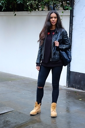 "Elvira Vedelago - Givenchy Star Jumper, The Kooples Leather Jacket, Accessorize Leather Bagpack, Dr. Denim Highwaisted Super Skinny Jeans, Timberland Icon ""6 Premium Boot - My Hustle So Russell"