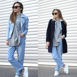 Vee Vee - Jaeger Navy Coat, Zara Grey Side Split Jumper, Levi's® Vintage Mom Jeans, Puma White Trainers, Primark Pastel Blue Biker Jacket, Ray Ban Wayfarer Sunglasses - Something blue