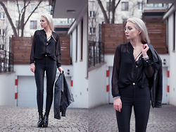 MONIKA S - Transparent Shirt, Strappy Lace Bra, High Waist Pants, Lacquered Platforms, Leather Jacket - SUBZERO