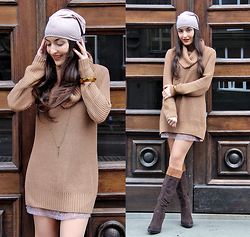 Lucine A - H&M Dress Sweater, Veiled Beanie, Charles&Keith Brown Boots, Women's Secret Lace Babydoll - Subtle Nuances