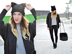 Kasia Z. - Zara Beanie, Zara Jacket - HELLO BLACK KITTY