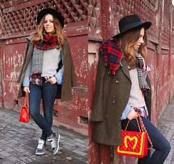 Iren P. - Oasap Olive Green Military Coat, Centro Faux Fur Grey Sneakers, Reversible Check Tartan Scarf, H&M Black Felt Fedora Hat, Mango Skinny Jeans, Zara Tartan Print Men Shirt, Moschino Mcdonalds Print Inspired Quilted Bag, Grey Ribbed Jumper - MIXING TARTAN PRINTS
