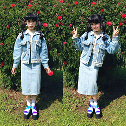 Peggy Chen - Joyrich Pencil Skirtrich Band Denim Long Skirt / Indigo, Unif Vapor Platform - /0303