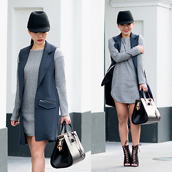 Fiveftwo - Topshop Sweater Dress, Topshop Sleeveless Jacket, Alexander Wang Bag, Nelly Shoes, Monki Hat - Sleeveless jackets for spring