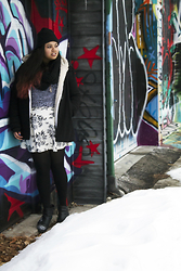 Maha Hawk - H&M Black Beanie, Aldo Black Circle Scarf, H&M Black Wool Coat, Stitches Sweater, Forever 21 Floral Skater Skirt, Sears Black Booties - Toronto Winter