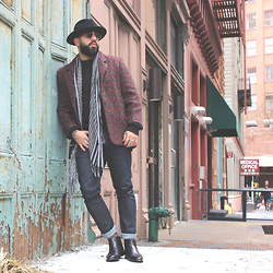 Andres Elias - Aldo Chelsea Boot, Lee Indigo Jeans, L Train Vintage Blazer, Trash & Vaudeville Panama Hat - The Devil is a Liar