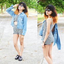 Alixandrea O. - Black & White Jumper, Denim Jacket, Galaxy Print Creepers, Round Shape Sunnies, Anchor Choker - Jumper Prints
