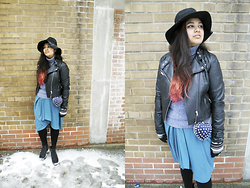Maha Hawk - H&M Fedora, H&M Faux Leather Jacket, Columbia   Thrifted Turtle Neck, Diy Studded Heart Clutch, Thrifted Teal Chiffon Dress, Call It Spring Black Booties - Grey Day