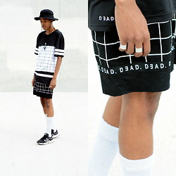 Dominic Grizzelle - Dead Studios Mesh Grid Jersey, Dead Studios Grid Boardie Shorts, Vsxnsta Silver Bands, Adidas Marathons - Grid Collection