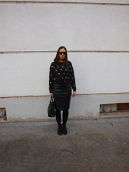 Dolores Gubo Brkovic - H&M Sweter, Promod Skirt, New Yorker Ankle Boots - Black pencil skirt