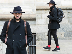 Dario Fattore - Adidas Zx Flux, Costume National Coat, Zara Backpack - Feeling black