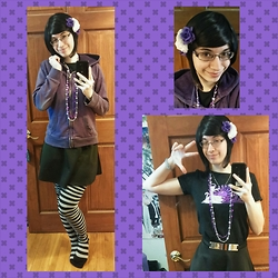 Danielle B. - Purple Plum Inc Hotaru Wig In Natural Black, Purple And White Flower Clips, Sonoma Purple Hoodie, Rue 21 Black Skater Skirt With Metal Accent, Sock Dreams Black And Gray Stripped Knee High Socks, Party City Mardi Gras Breads (Star Shaped), I Can Has Cheezburer Catnarok T Shirt - Purple Attack