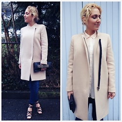 Carmen Segattini - Zara Camel Coat, Forever 21 Apricot Creme Blouse, Present From My Friend Moana Black Clutch, Zara Black Sandals - Clean, cleaner, the cleanest