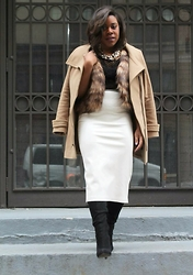 Christian Riley - Zara Faux Leather Skirt, Bcbg Heel Boots, H&M Caged Top - #TeamCookie