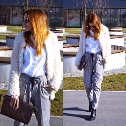 Iva S. - Bershka Pants, H&M Fur Cardigan, H&M Ankle Boots, Zara Necklace, Asos Sunnies, Clutch - Busy look