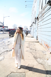 Emily Men - Ray Ban Classic Clubmasters, Free People Fit To Be Tied Lurex Blouse, Nina Ricci Lace Overalls, Free People Shine Thru Sequin Cardigan, Chanel Classic White Chain Leather Loafer Flat Mocassin, Free People Cliffhanger Collar, Vintage An Mugler Ivory Coat - All White