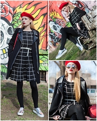 Hillie Rocks - Promod Graphic Printed Dress, H&M Black Tights, Bershka Lace Up Mirrored Shoes, Tally Weijl Long Sleeve T Shirt, Pimkie Motorcycle Coat, Vintage Beret, White Vintage Belt, Chanel Earring, Pimkie Red City Bag, Tally Weijl Mirrored Sunnies - In the end.. I'm just me