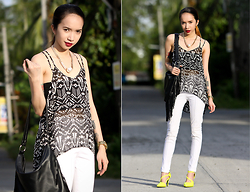 Wicked Ying NEW - Black Five Flowy Top, Pinkaholic White Pants, Scene Stealer Neon Heels, Libebi Pearl Necklace - Easy Breezy
