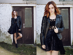 Serena Pirredda - Alcott Black Boots, Yamamay Black Sleeve Top, Black Velvet Skirt, Select Leather Jacket - Let em know that we still Rock and Roll