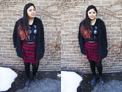Maha Hawk - Stitches Online Black Fur Coat, Stitches Online Moon Crop Top, Stitches Online Tartan Skirt, Sears Black Booties - Furry Plaid
