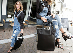FEEblog - Samsoe Black Blouse, One Teaspoon Destroyed Dungaree, Won Hundred Leather Shopper - Cool Kid from the 90's