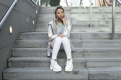 Shady Kleo - Buffalo Boots, Topshop Whit Jonis, Romwe Multicolour Crop Top, The Ragged Priest Silver Jacket, Rokit Vintage Earrings - Wondering How I Could Let My Roots Get So Bad