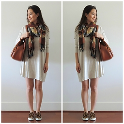Kimberly Kong - Jototes Bag, Charlotte Russe Scarf, Steve Madden Shoes, She's So Moxie Dress - JoTotes