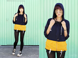 ♥Naokawaii♥ - Sheinside Black Yellow Hooded Pockets Loose Sweatshirt, Maxstar Platform Sneakers, Ebay Mint Rounded Glasses - Hello again! I'm alive!