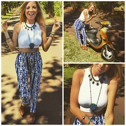 Brittany Shae - Ladies Of Paradise Beaded Pouch Necklace, Free People High Neck Crop Top, Tobi Printed Aztec Pants, Forever 21 Pointed Leather Wedges, Wanderlust Fashion Vintage Lapis Coin Colar - Choose Your Own Adventures
