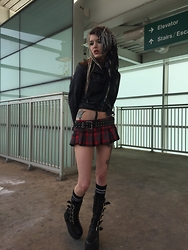 Alloy Ash - H&M Leather Moto, Forever 21 Plaid Mini Skirt, Demonia Swing Boots - Leather and plaid