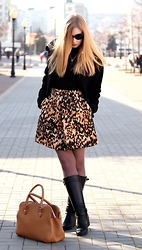 Oksana A - Karen Millen Skirt, Ugg Boots, Stefanel Bag, Marella Jacket - My animal print skirt. Hello,1980s!