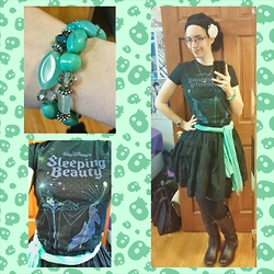 Danielle B. - Multi Stone Bracelet, Disney Maleficent T Shirt, Dresslink Black Beret, White Flower Clip, Forever 21 Mint Scarf, Metamorphose Black Skirt, Sock Dreams Black Thigh High Socks, Rue 21 Black Knee High Boots - My Favorite Villain