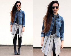 Jen Lou M - Zerouv Sunglasses, Warehouse Denim Jacket, New Look Ribbed Bodycon Dress, Vero Moda Marl Cardigan, Boohoo Ankle Boots - You Seem Like Trouble to Me