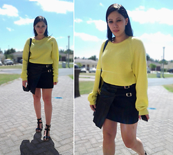 Tneale Williams - Yellow Knit, Leather Wrap Skirt, Block Leather Sandal - Pretty Little One that I Adore.