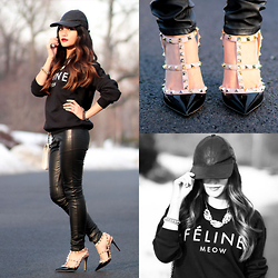 BLESSIE - Valentino Studded Heels, Asos Leather Cap, Brian Lichtenberg Feline Meow Sweater, H&M Faux Leather Pants - COOL INTENTIONS