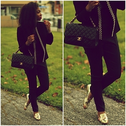 Gaëlle Seyi - Chanel Classic Jumbo Double Flap, Chanel Spring Loafers, Asos Straight Pants - On the go!