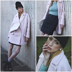 Hillie Rocks - Pimkie Pink Coat, Vintage Purse, Beanie With Veil Diy, H&M Open Toe Booties, Vintage Mint Sweater, Cvg Optical Pencil Skirt, Nike Socks, Vintage Pearls, Chanel Earring - Pastels
