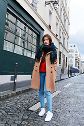 Chantal K - Adidas Stan Smith, H&M Coat, Sheinside Red Knit - Basic