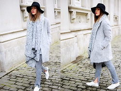 Carla Estévez - Bimba&Lola Coat, Zara Pants - Shades of grey