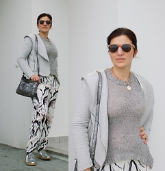 Teresa Leite - Zara Flower Print Cuffed Pants, Zara Braided Silver Messenger Bag, Zara Silver Brogues, Zara Grey Hoodie Jacket, Zara Silver Grey Knit Sweater, Guess? Rose Gold Chain Necklace With Medallion, Parfois Wayfarer Sunglasses - Silver Beam of Light