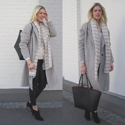 Somehappyshoes - Mango Coat, Zara Leatherpants, Zara Bag, Zara Ankleboots - 09/03/2015 Grey